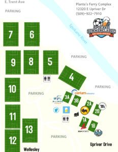 Spokane Soccer Adult Competition Field Map and Sponsors